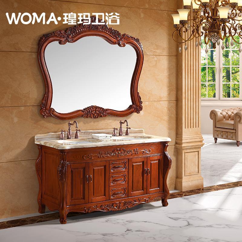 WOMA瑝玛进口橡木落地浴室柜组合卫生间大理石洗手盆订制