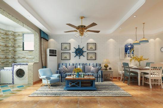 110平  三室两厅  地中海风格