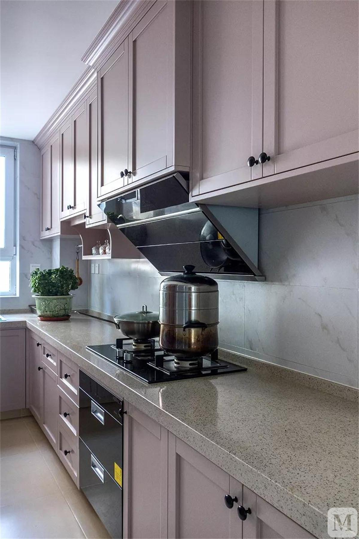 简欧厨房橱柜装修效果图 一字型橱柜