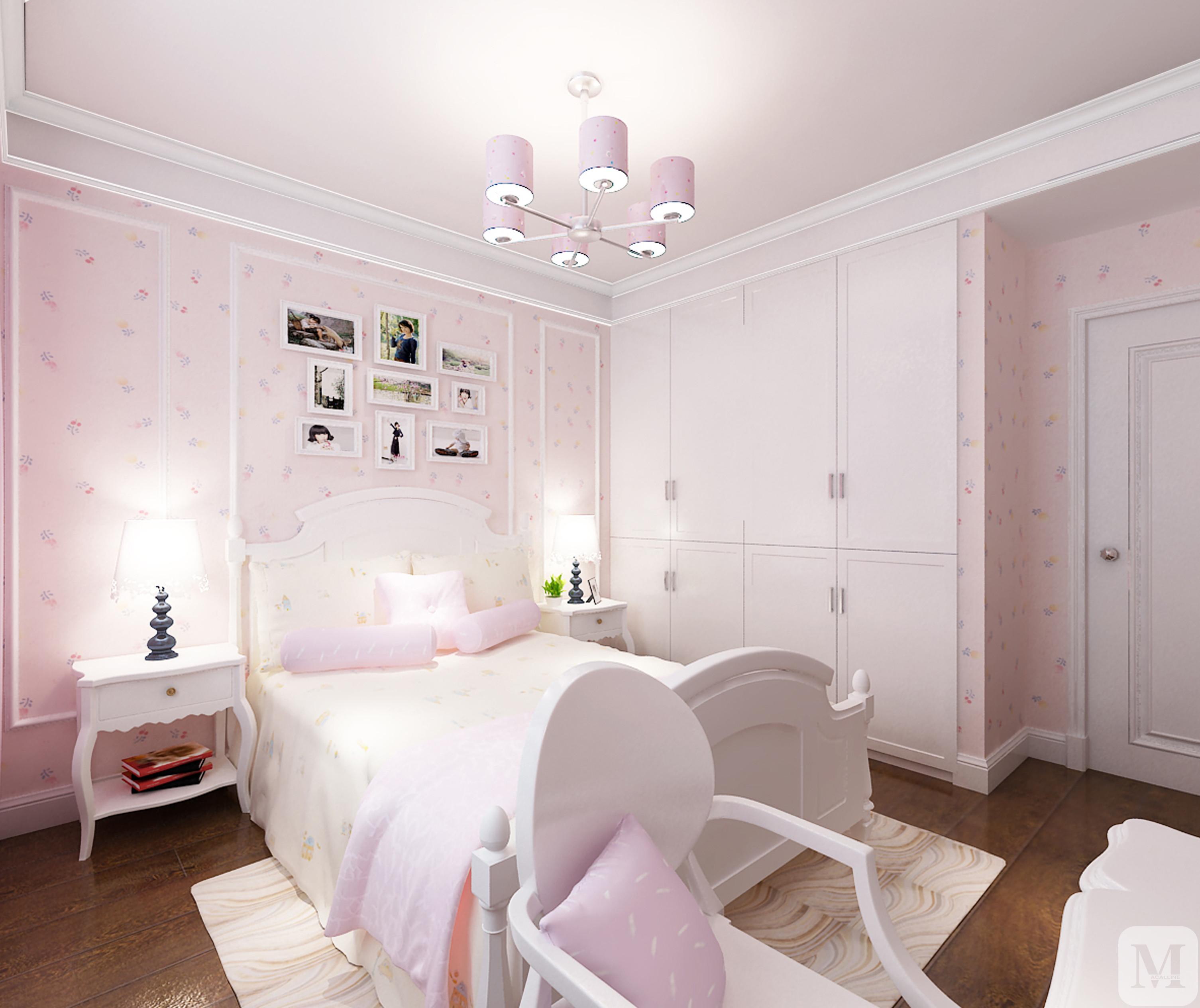 设计选择的卡色调,搭配深色的家具,白色的门和踢脚线.