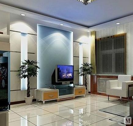 现代简约风格小户型客厅透明玻璃隔断电视背景墙装修效果图