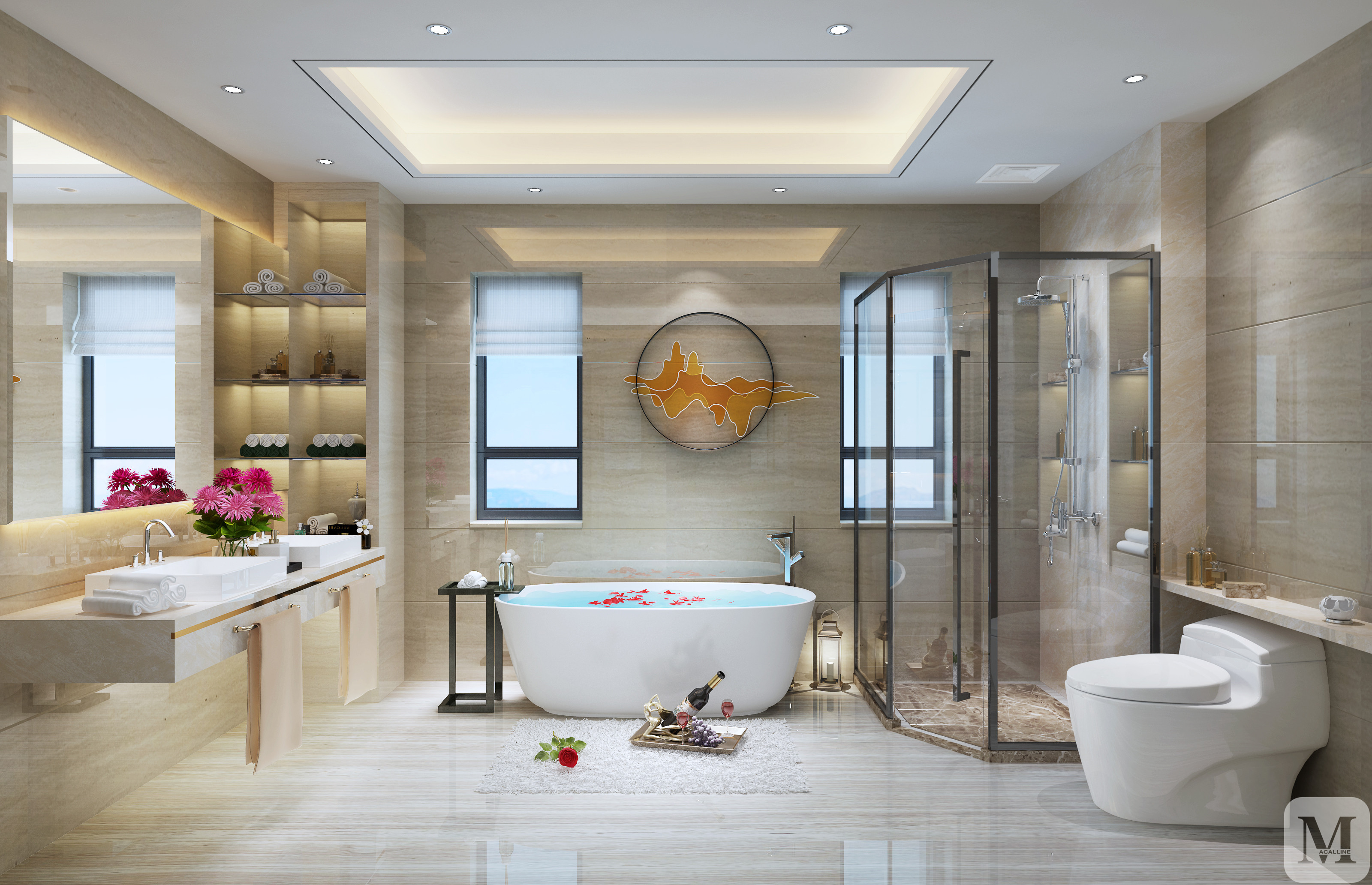 中式卫生间浴缸装修效果图