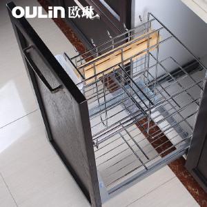 欧琳 厨房橱柜拉篮抽屉式调味篮碗碟碗篮调味拉篮阻尼轨道 现代简约 OL-TWL