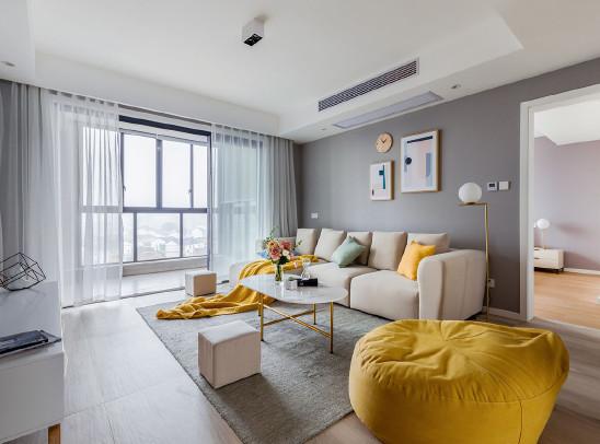 用黄蓝色点缀新生活,120㎡简约三居室