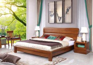 A家 低箱床 中式实木大床 木色天香 F006