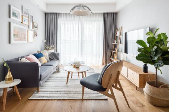 自然原木色,110m²北欧三居室