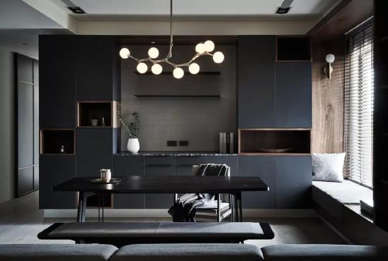 高级黑+胡桃木,演绎168平米质感格调