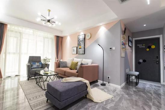 78㎡现代简约,拼色沙发墙,活泼又漂亮